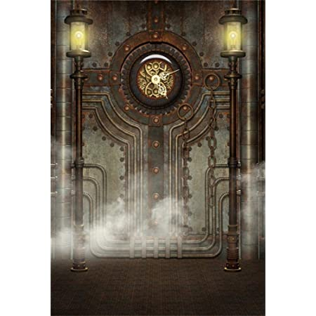 5x5ft Steampunk Theme Backdrop for Photography Vinyl Bell Tower Upfloor Clock Backside Gears Clockwork Nightview Background Nostalgia Style Child Adult Photo Shoot Studio Props