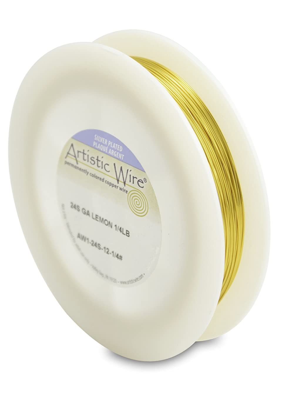Artistic Wire 24-Gauge Silver Plated Lemon Wire, 1/4-Pound