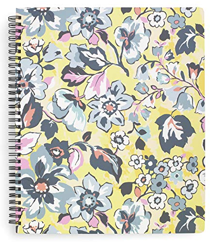 Vera Bradley Yellow Floral Large Spiral Notebook, 11' x 9.5' with Pocket and 160 Lined Pages, Sunny Garden