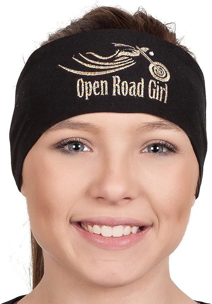 Open Road Girl Hair Bandana: Biker Chick Head Wrap: Open Road Girl Embroidered