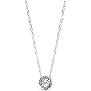 Amazon Com Pandora Jewelry Round Sparkle Halo Cubic Zirconia Necklace In Sterling Silver 17 7 Clothing