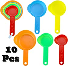 Oopsu 2 Set 10 Pcs Professional Plastic Measuring Cups, 5 Colors Colored Coffee Spoons