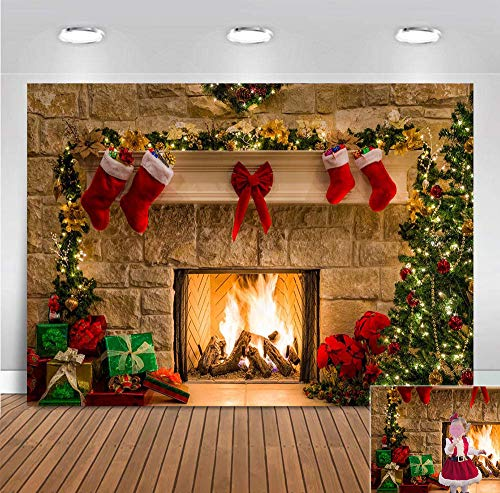 9x6ft Winter Xmas Themed Photography Backdrop Christmas Tree Socks Gifts Fireplace Photo Background Birthday Decorations Vinyl Party Banner Photo Booths Studio Props Holiday Supplies
