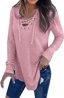 Lmx+3f Women Deep V Neck Strap T-Shirt Top Autumn Long Sleeve Loose Blouse Solid Color Soft Comfy Top / 4 Color Choose