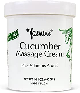 Jasmine Cucumber Massage Cream. Keep Your Face and Body Fresh and Soft with Anti-Aging Therapy Cream. Have Deeply Moisturized and Nutrition on Your Skin. Organic Cucumber Extract. [400 g / 14.1 Oz]