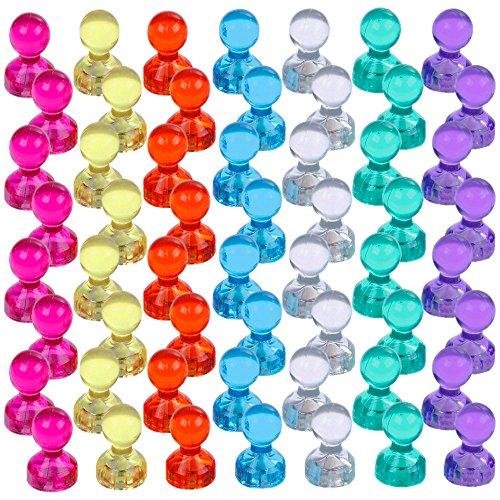 Lictin Magneti a Spillo Calamite Piccole - 56 Pezzi Magneti per Lavagna Colori Assortiti Forti Magneti, Perfetto per Lavagna Bianca, Frigorifero, Mappa