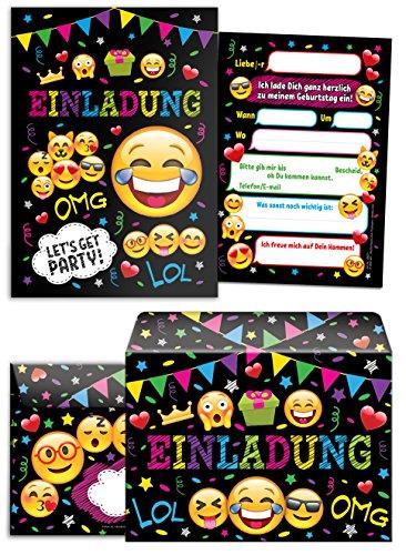 JuNa-Experten 12 Einladungskarten incl. 12 Umschläge Kindergeburtstag Mädchen Jungen Jungs Geburtstagseinladungen Einladungen Geburtstag Kinder Umschlag Kartenset