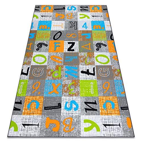Alfombra infantil Jumpy Patchwork con letras y números, 150 x 300 cm, color gris, naranja y azul