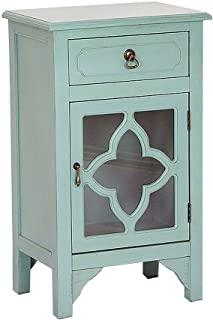 Heather Ann Creations Elegant Contemporary Standing Single Drawer Distressed Finish Cabinet with Clover Glass Window Inserts, 30