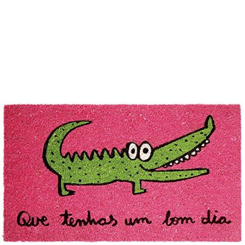 Laroom deurmat krokodil design rond Bon Dia, jute & antislip onderzijde, roze, 40 x 70 cm