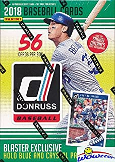 2018 Donruss Baseball EXCLUSIVE Factory Sealed Retail Box with SPECIAL HOLO BLUE & CRYSTAL PARALLELS! Look for Autographs of SHOEHEI OHTANI, Aaron Judge,Derek Jeter & More! WOWZZER!