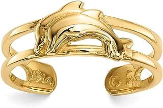 14ct delfines anillo para dedo del pie.