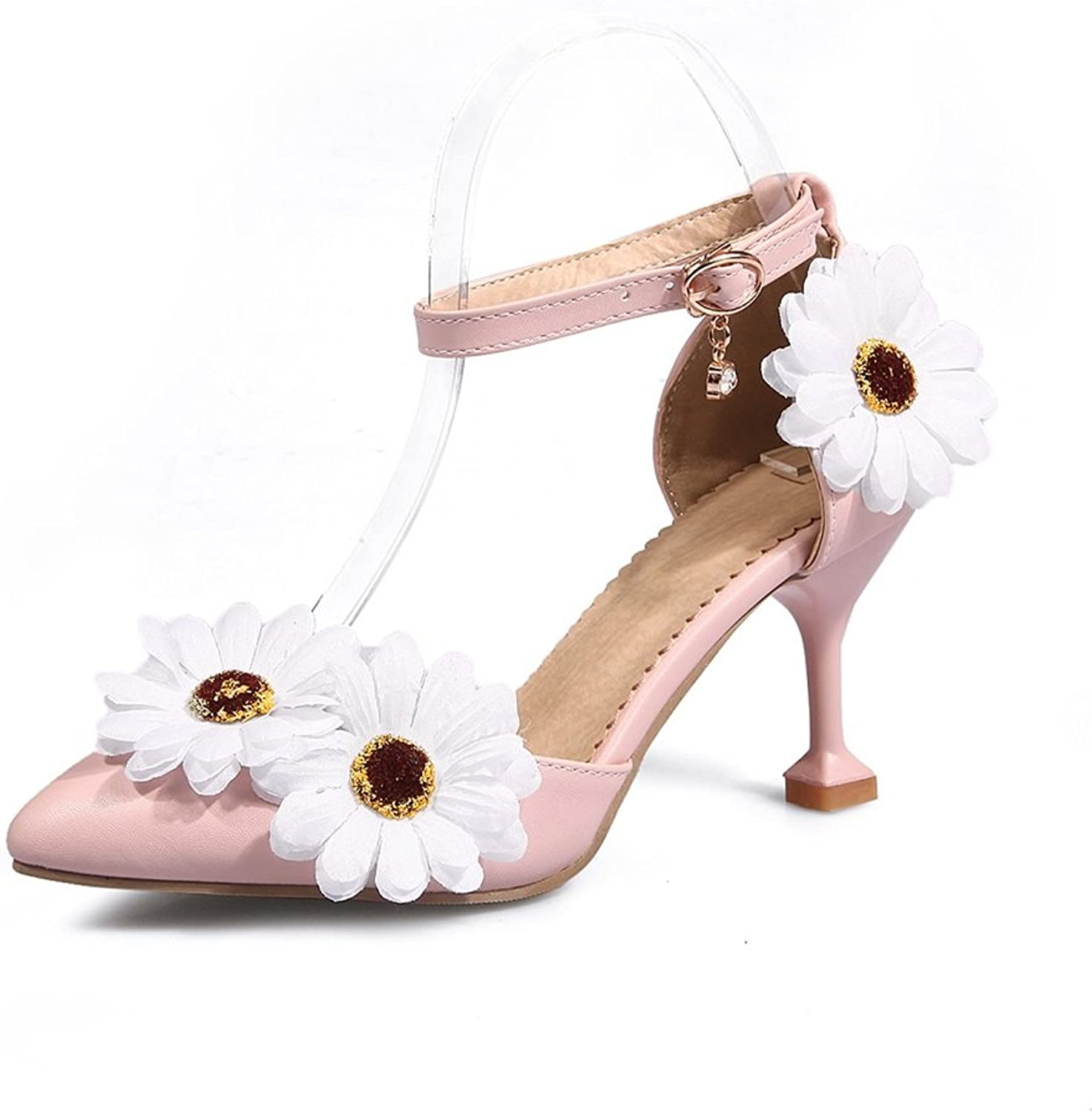 Exing Women's shoes New Korean Flower Buckle Buckle Shallow Mouth Metal Decorative High-Heeled shoes shoes