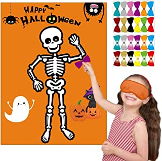 Happy Storm Halloween Party Games Pin the Bow Tie on the Mr. Bones Game Halloween Birthday Party Supplies Favors for Kids Halloween Pin Game with 24 Bow Tie Reusable Stickers