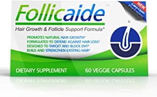 Follicaide - Hair Growth Follicle Support & Thinning Resistence - 60 Count - 1 Month Supply - DHT Blocker Hair Vitamin Supplement Fight Hair Loss - Regrow Hair