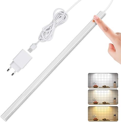 SOAIY 40CM 7W 650LM luz LED cocina bajo armario con sensor táctil, Iluminacion ajustable led cocina bajo mueble con 3...