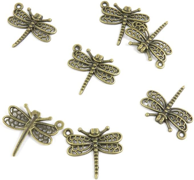 Pendant Jewelry Making Supply 2 Gold Tone Filigree Dragonfly Bracelet Charms