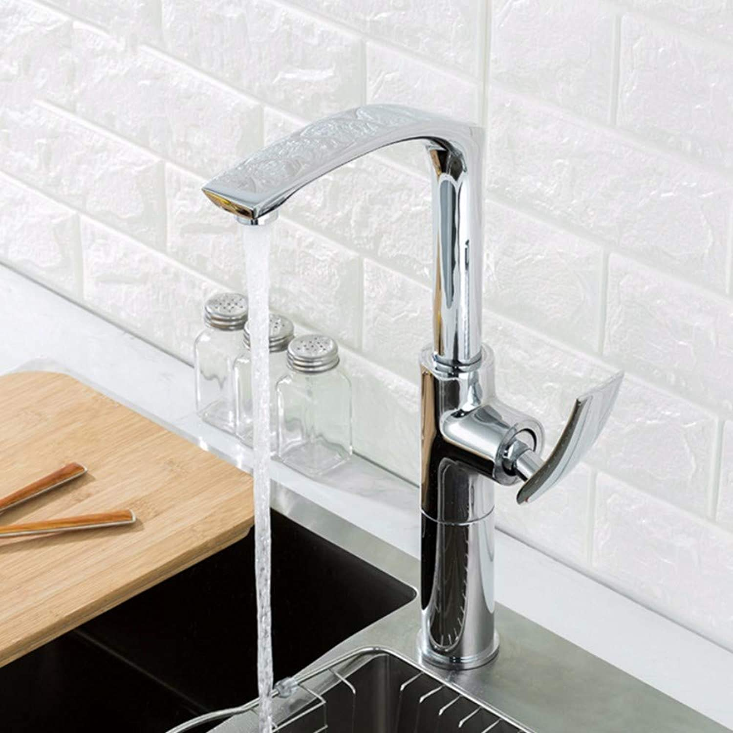 Faucet Single Handle Kitchen Stand Mixer High Chrome Washbasin Faucet Bathroom Faucet Height Adjustable Hot and Cold Mixer