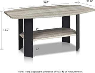 FURINNO Simple Design Coffee Table, French Oak Grey/Black