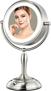 Lighted Makeup Mirror - 8'' x 7'' LED Vanity Mirror with 1x/5x Magnifying, 360° Rotation Double Sided Makeup Mirror With R...