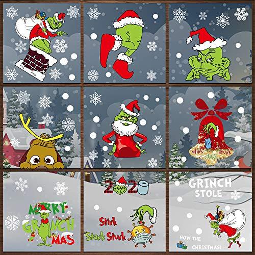 Weihnachten Fensterdeko, Fensterbilder Weihnachten Selbstklebend, Weihnachten Fenstersticker, Weihnachtsfenster Aufkleber, Statisch Haftende Weihnachtsmann Süße Elche Fensterbilder (Grinch)
