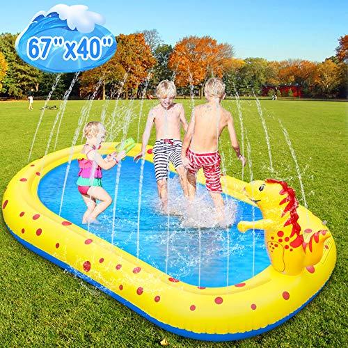Lanlelin Joyhoop Splash Pad 68'', 8'' Grosor Aspersor niños, Diseño con Rociando Agua de Dinosaurio de Almohadilla de Aspersión para 1-12 Niños, Piscina para Niños Engrosamiento de PVC. (Amarrillo)