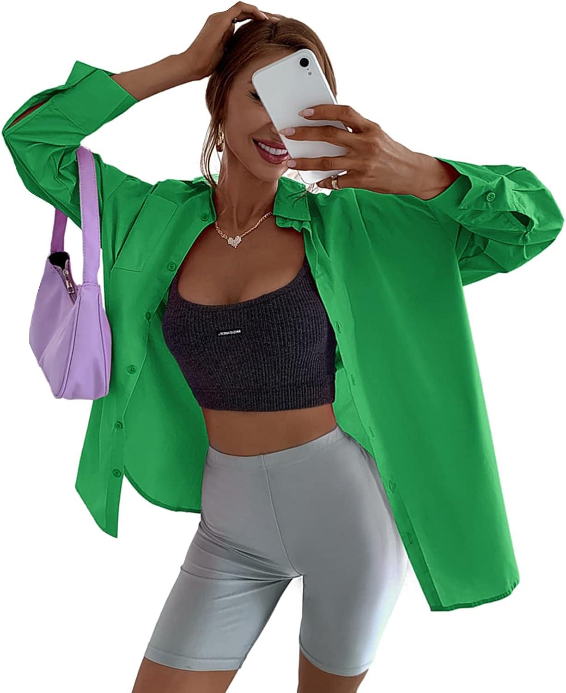 SheIn Women's Long Sleeve Button Down Drop Shoulder Oversized Blouse Tops