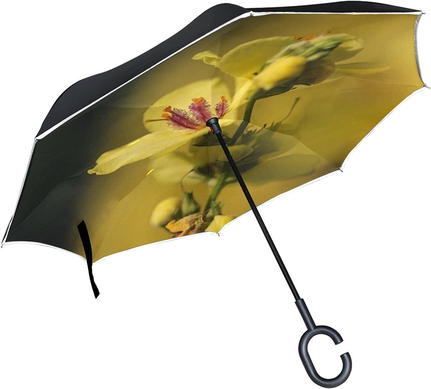Double Layer Ingreened Flower Yellow Flower Mullein Meadow Nature Umbrellas Reverse Folding Umbrella Windproof Uv Predection Big Straight Umbrella for Car Rain Outdoor with CShaped Handle