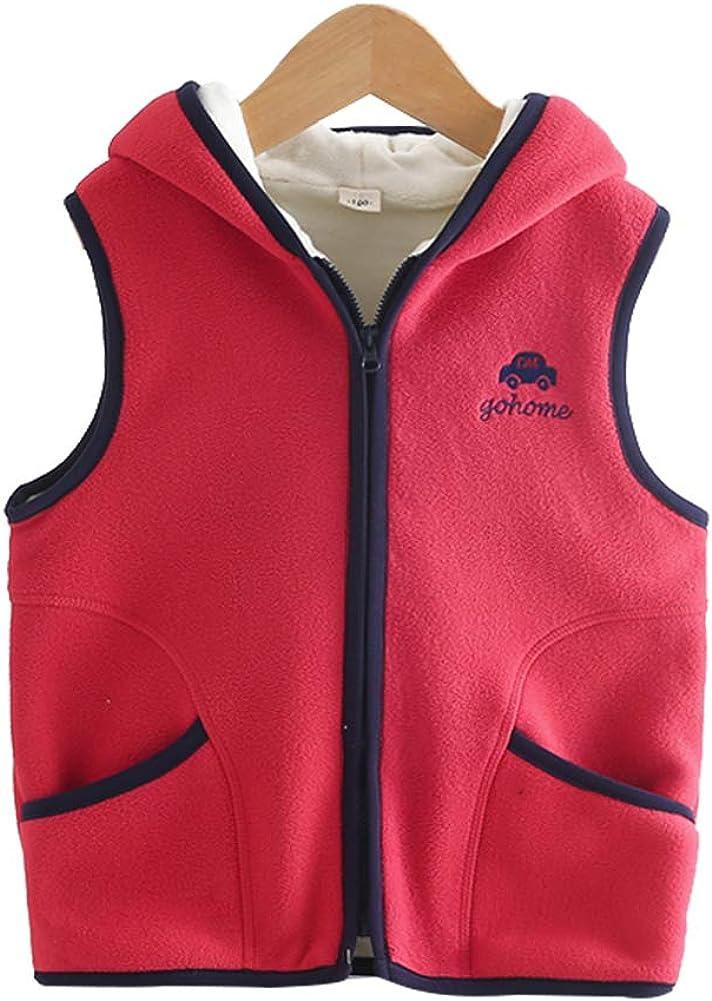 LittleSpring Little Girls Boys Fleece Zipper Vests Outerwear 2-7T