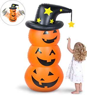 Halloween Inflatable Pumpkin Tumbler ,Most popular Halloween Decoration,4.5Ft Tall Air Blown Wobble Pumpkin with 3 Jack-O-Lanterns and One Witch Hat for Indoor Outdoor Home Art Decoration Yard Party