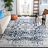 Safavieh Madison Collection MAD603D Cream and Navy Distressed Medallion Area Rug (8' x...