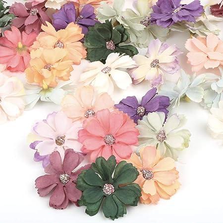 VINFUTUR 50pcs Multicolore Tête Marguerite Artificielle Mini Fait à la Main Fleur Artificielles pour Mariage Scrapbooking Déco Vêtements Accessoires