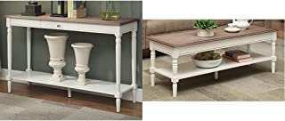 Convenience Concepts French Country Console Table with Drawer and Shelf, Driftwood/White & French Country Coffee Table, Driftwood/White