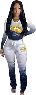 Women's Sweatpants Tracksuit Two Piece, Outfits Tracksuit Jogger Outfit Sweatshirt and Sweatpants Sports Sets,Blue,XXXXL
