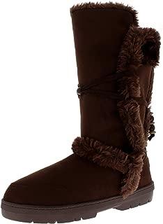 Womens Faux Fur Lined Tall Beaded Waterproof Winter Rain Snow Boots