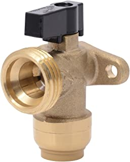 Sharkbite 25560LFA Washing Machine Angle Valve, 1/2 inch x 3/4 inch MHT Garden Hose Valve, Push-to-connect Copper, PEX, CPVC, PE-RT Pipe