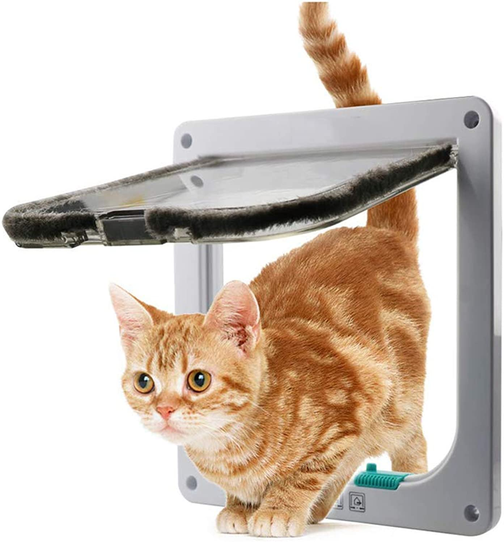 Flip Door Magnetic Pet Door with 4Way Lock, Pet Door Kit for Cats and Puppies, with Telescopic Frame for Easy Inssizetion,White,L