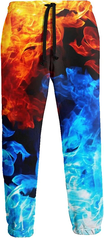 Mens Elastic Waist Sweatpants Fire Water Galaxy Joggers Sweatpants for Gym Training Sport Pants