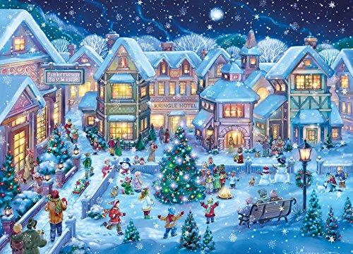 Holiday Village Square - 15biglietti natalizi quadrati e 16buste con rivestimento