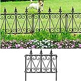 Amagabeli Garden Fence Rustproof Metal Wire Fencing 24inx10ft Outdoor Landscape Decorative Border Edge Section Edging Decor Picket Black Folding Wire Patio Fences Flower Bed Animal Dogs Barrier FC03