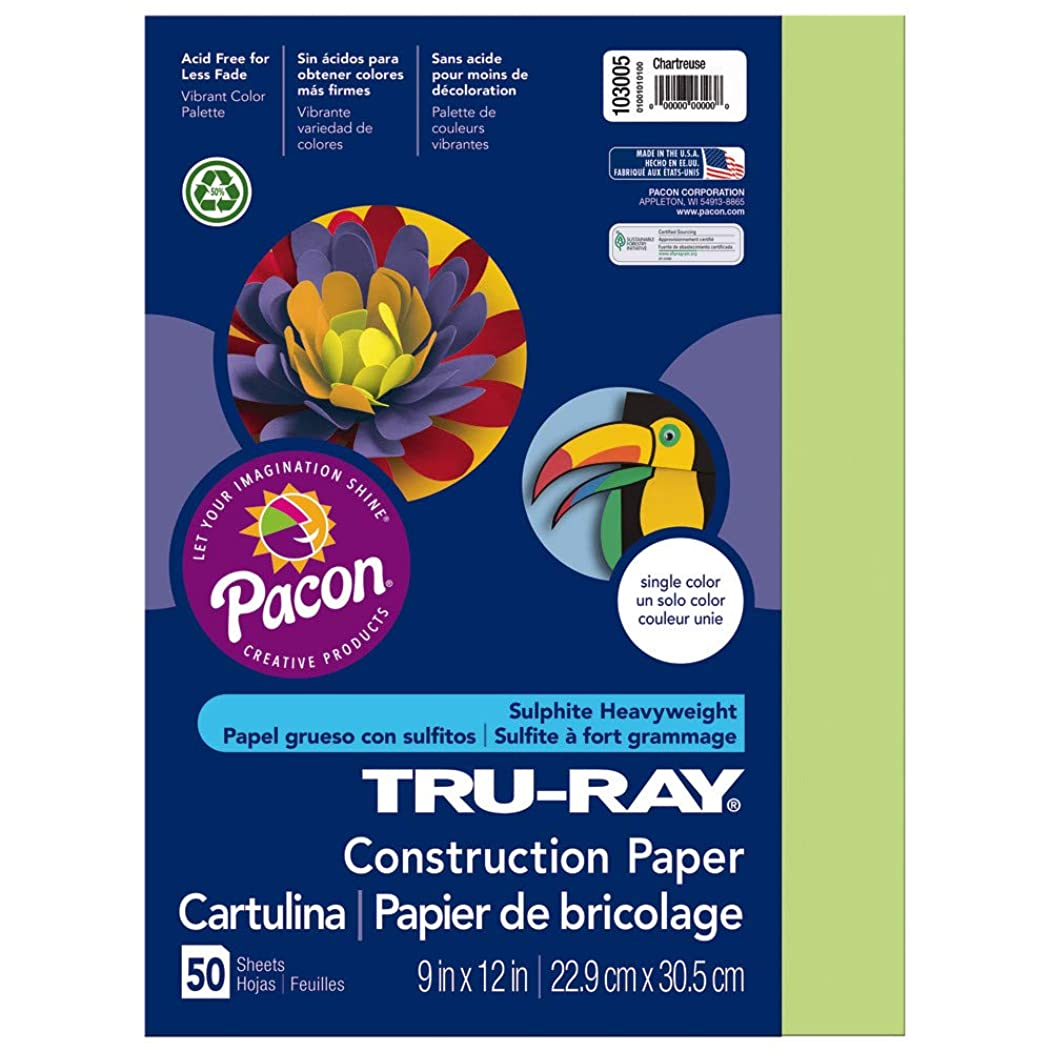 Tru-Ray Heavyweight Construction Paper, Chartreuse,  9
