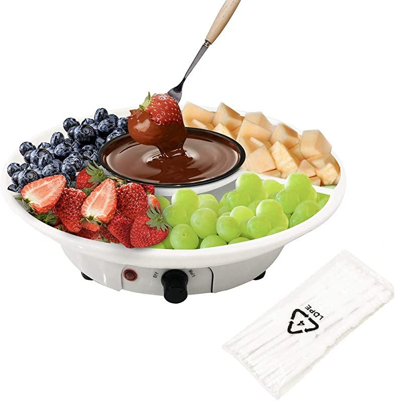 Chocolate Fondue Maker Electric Chocolate Melting Pot Set With Stainless Steel Bowl Serving Tray Comes With 10 Fondue Forks