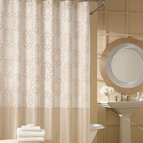 DS BATH Odisha Cream Shower CurtainContemporary CurtainMildew Resistant Polyester Fabric