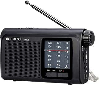 Retekess TR605 AM FM Battery Operated Radio Portable Shortwave Transistor Radio with LED Emergency Flashlight Rechargeable...