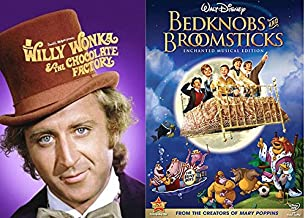 Disney Bedknobs And Broomsticks & Willy Wonka & the Chocolate Factory Musical DVD Set / Classic Family Movie Bundle Double Feature