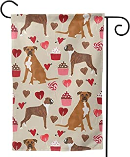 ASDD Boxer Dog Valentines Love Cupcakes Festive Outdoor Garden Flags - Double Sided Premium Durable Bright Polyester.