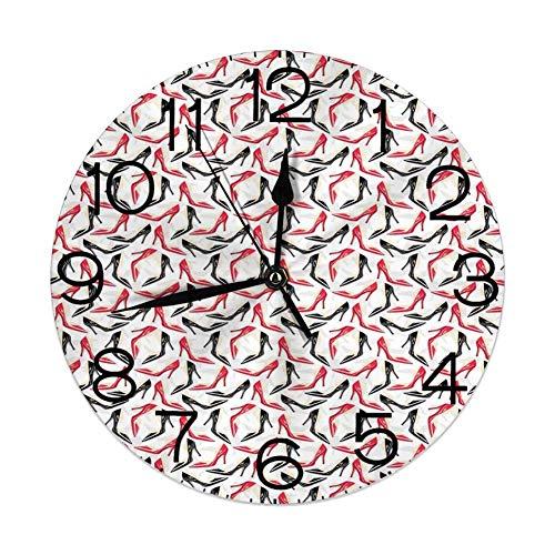 GoodLucke Reloj de Pared Decorativo para el hogar, Rojo y Negro, patrón de Moda para Mujer con Zapatos de tacón de Aguja, Calzado para Mujer, Negro Escarlata Beige