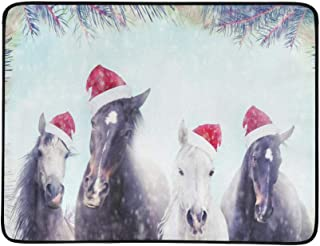 Herd of Horses with Santa Hat On Winter Snow and C Pattern Portable and Foldable Blanket Mat 60x78 Inch Handy Mat for Camping Picnic Beach Indoor Outdoor Travel