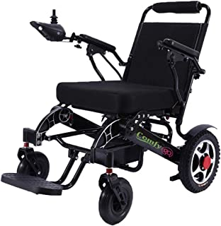 Deluxe Electric Wheelchair with Bluetooth Remote Control,Motorized Fold Foldable Power Compact Mobility Aid Wheel Chair,Lightweight Folding Carry Electric Wheelchair,Powerful Dual mt 19 inche seat w