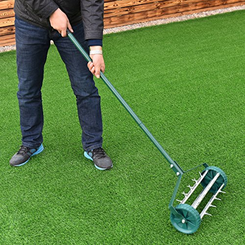 COLIBROX Heavy Duty Easy Rolling Garden Lawn Aerator Roller Home Grass Steel Handle Green New